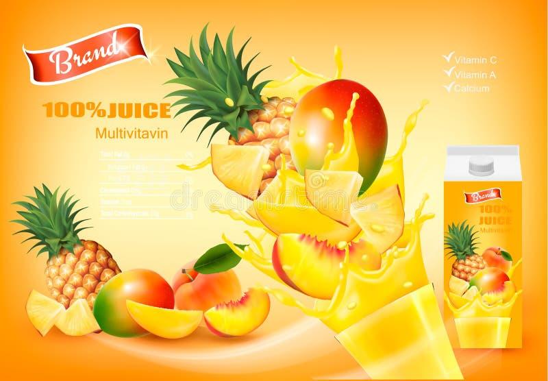 Mulitivitamin fruktsaft med nya frukter och plaskande flytande stock illustrationer