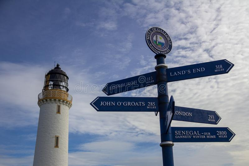 Mull of Galloway lighthouse in Scotland, United Kindom. Sign post in front of the Mull of Galloway lighthouse in Dumfries and Galloway, Scotland, United Kingdom royalty free stock photography