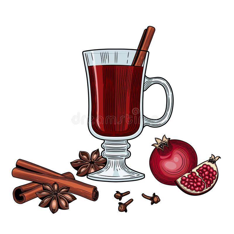 mulled wine stock illustrationer