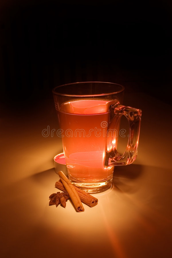 Mulled wine. With candle - still life stock photos