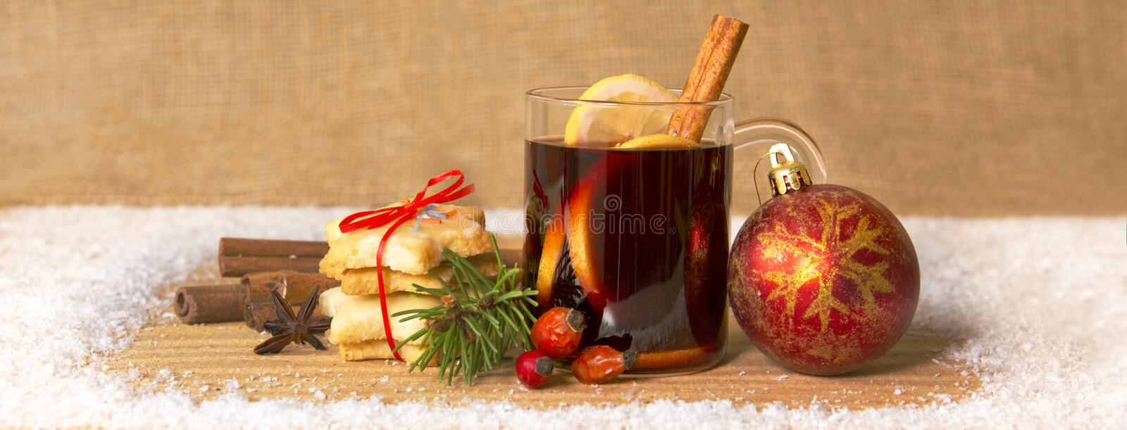 Mulled wine and Christmas ball. royalty free stock photography
