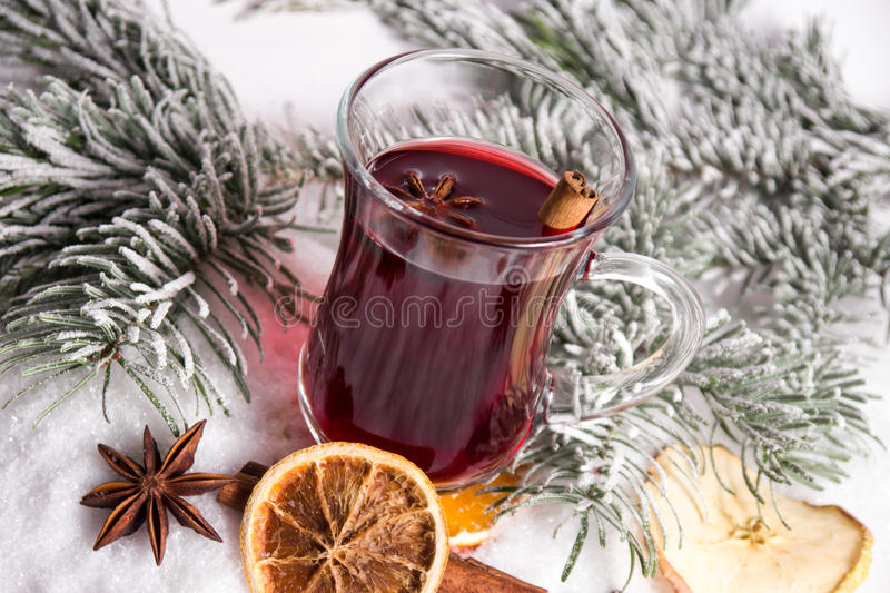Mulled wine. And christmas decoration royalty free stock photography