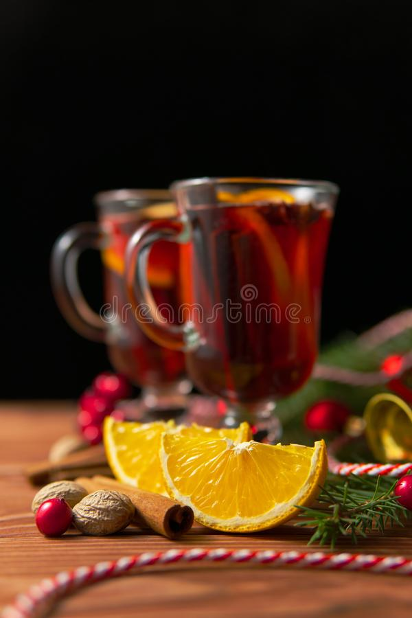 Mulled wine and Christmas decorations royalty free stock photography