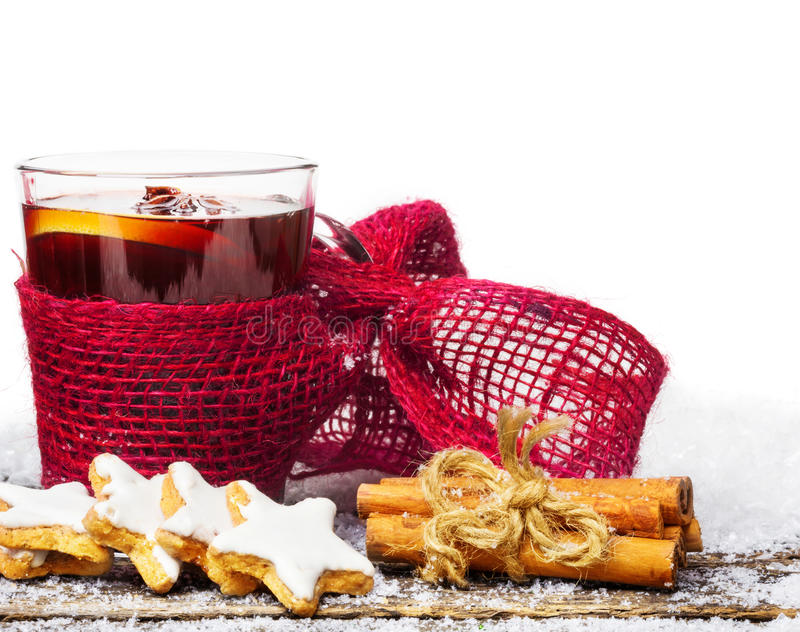 Mulled wine, cinnamon stars royalty free stock photo