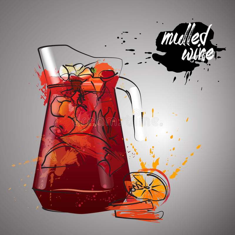 Mulled wine with color splash. Red wine stock illustration