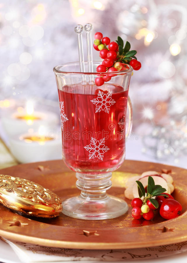 Mulled wine glass with cranberry