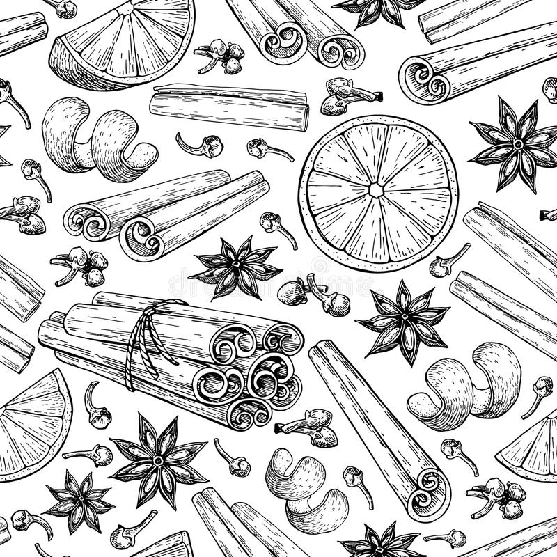 Mulled wine ingradients seamless pattern. Cinnamon stick tied bunch, anise star, orange, cloves. Vector drawing. Hand drawn sketch. Seasonal food background vector illustration