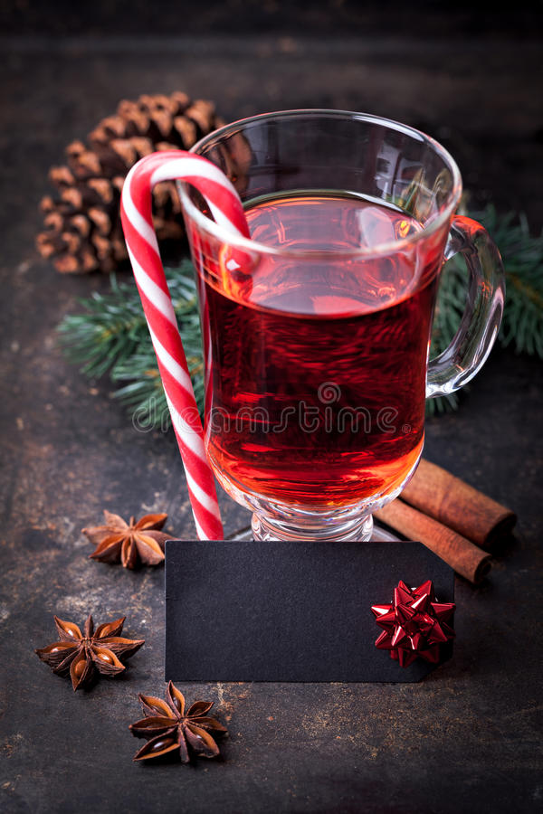 Mulled Wine With Label Royalty Free Stock Images