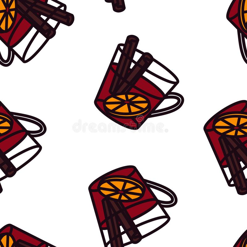 Mulled wine line in glass with cinnamon and orange seamless pattern. vector illustration