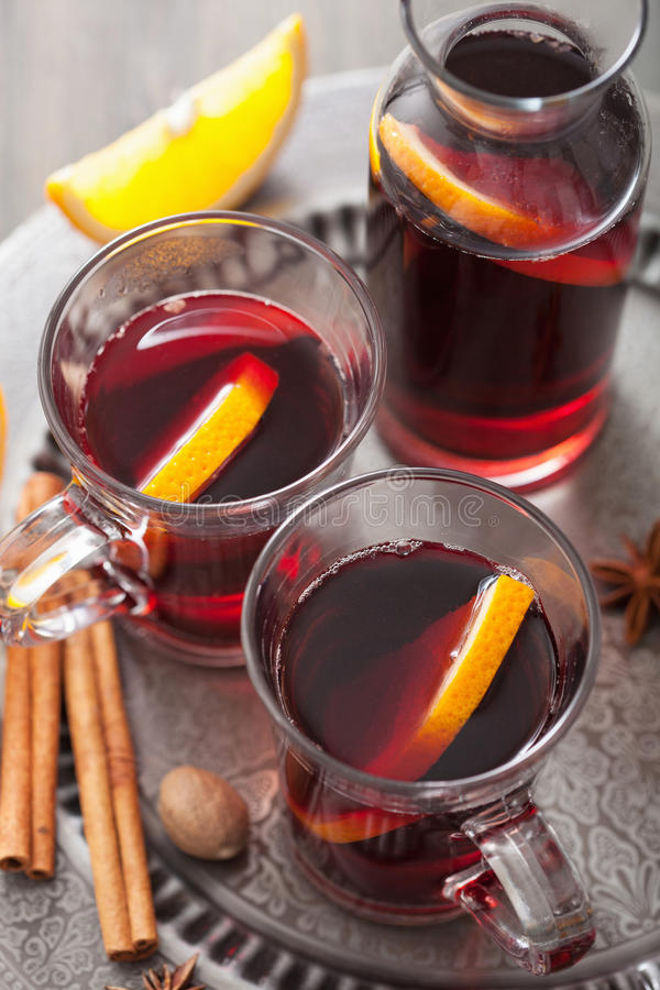 Mulled Wine With Orange And Spices Stock Image