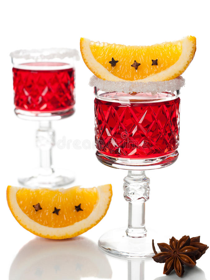 Mulled Wine On A White Background Royalty Free Stock Image