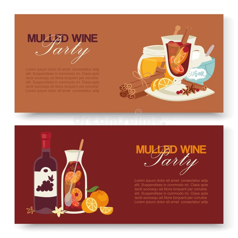 Mulled wine winter drink vector banners. Alcohol beverage illustration with bottle of wine, glass with fruits, herbs. Spices. Taste of Christmas. Vintage royalty free illustration