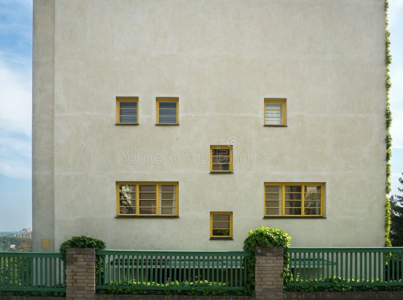 Muller s Villa at Orechovka. PRAGUE - MAY 19, 2019: Muller s Villa, a leading work of Czech functionalism by Adolf Loos and Frantisek Lhota at Prague s Orechovka stock photo