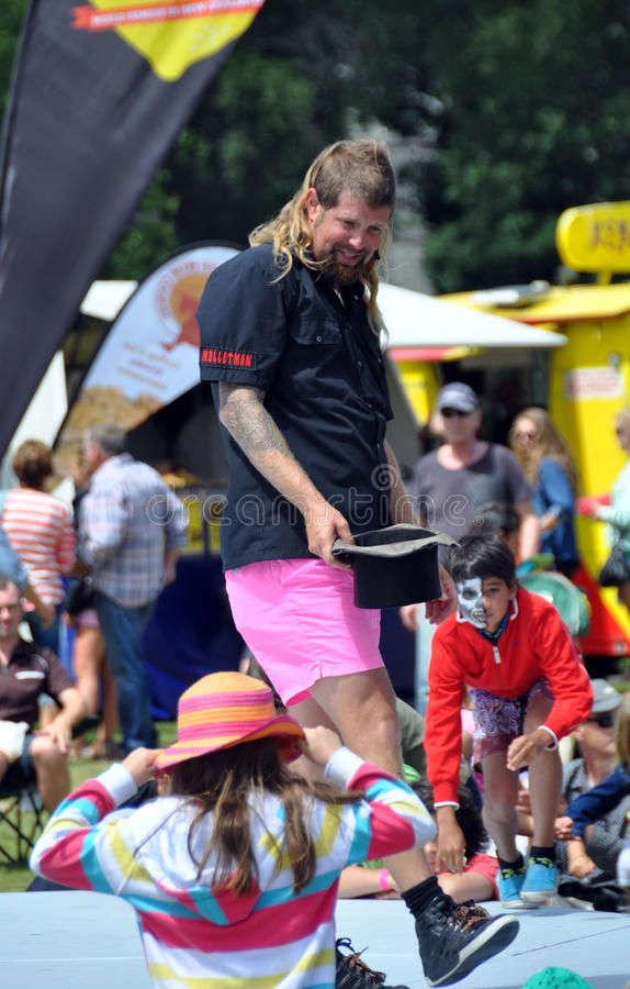 Mulletman Hands Round The hat at The  World Buskers Festival