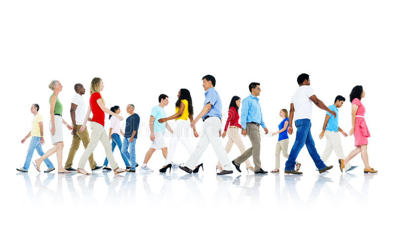 Mullti-Ethnic Group of People Walking royalty free stock images