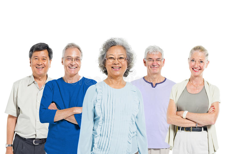 Mullti-ethnic senior group of people stock image