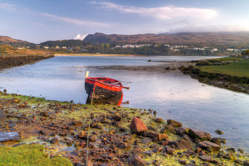 Mulranny bay. Red boat at Mulranny bay in Irish Co. Mayo - HDR stock images