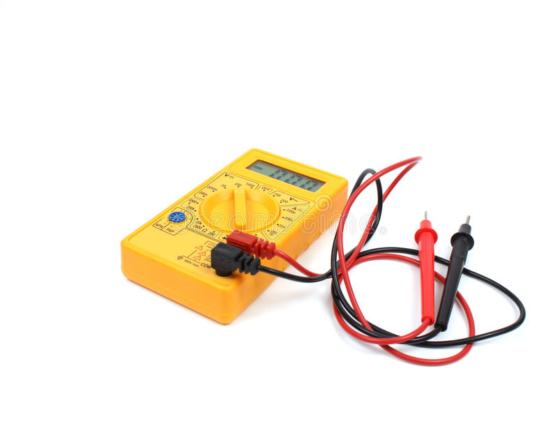 Multímetro digital amarelo foto de stock