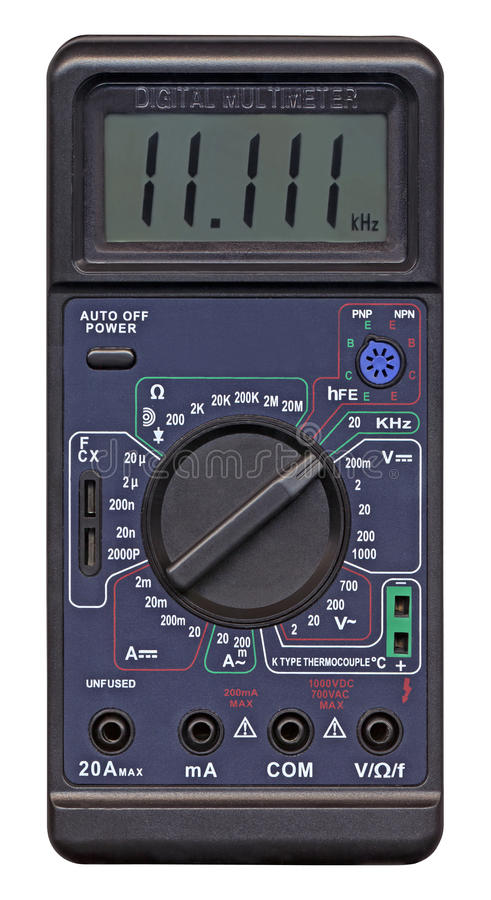 Multímetro digital com interruptor, medida diferente, imagem de stock