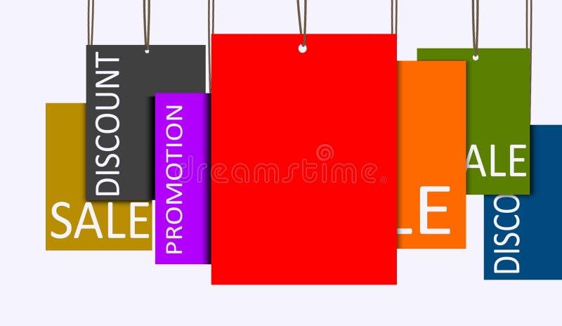 Multi бирки продаж смертной казни через повешение цвета иллюстрация штока