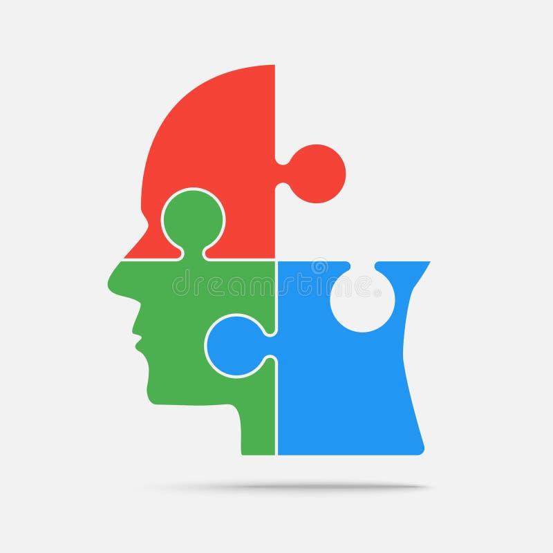 Multi голова части головоломки цвета - зигзаг вектора иллюстрация вектора