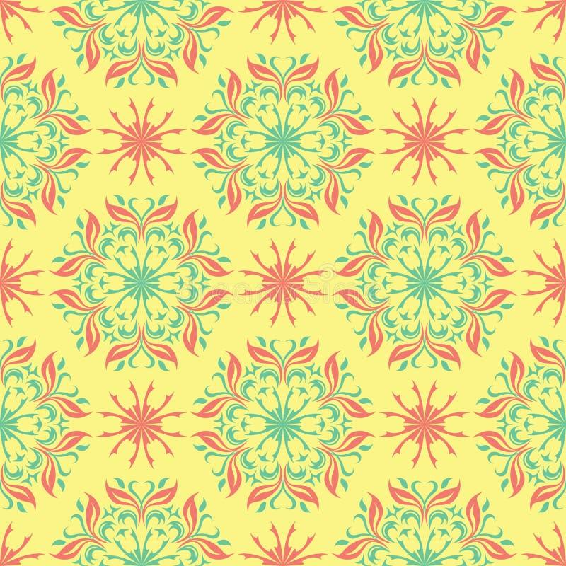 Multi покрашенная безшовная флористическая предпосылка Розовая голубого картина зеленого цвета и желтого цвета иллюстрация вектора