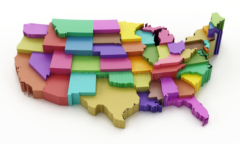 Multi покрашенная карта США показывая государственные границы иллюстрация 3d иллюстрация штока