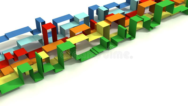 Multi покрашенное 3D проиллюстрировало геометрические ленты на белой предпосылке стоковое фото