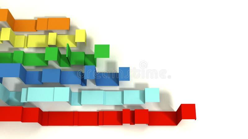 Multi покрашенное 3D проиллюстрировало геометрические ленты на белой предпосылке стоковое фото rf