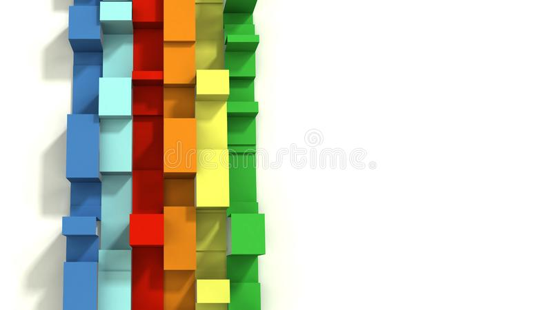 Multi покрашенное 3D проиллюстрировало геометрические ленты на белой предпосылке стоковое изображение rf