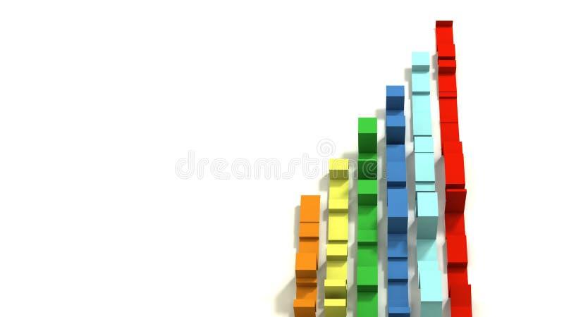 Multi покрашенное 3D проиллюстрировало геометрические ленты на белой предпосылке стоковое изображение