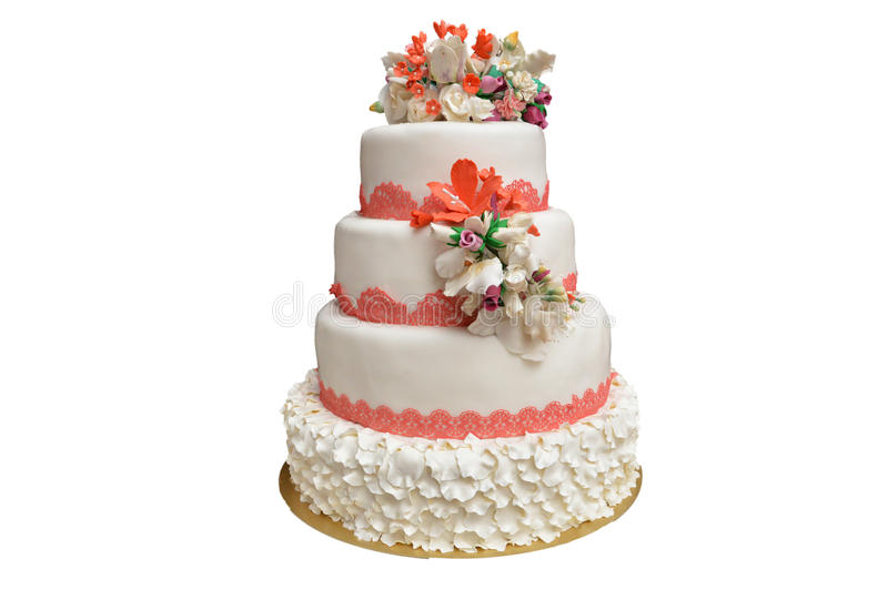 Multi ровный белый свадебный пирог с розовыми цветками на верхней части стоковые фото