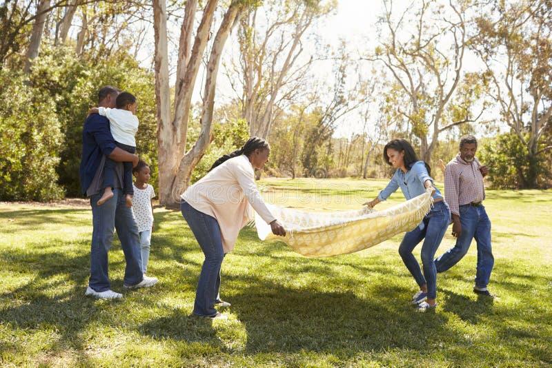 Multi семья поколения идя на пикник в парке совместно стоковые фото