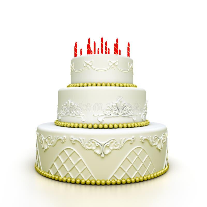 Multi-abgestufter Geburtstagfeierkuchen mit Zucker vektor abbildung