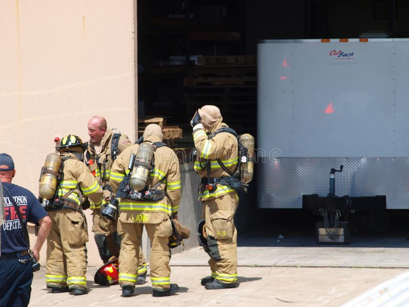 Multi-Alarm at Vent-A-Hood Richardson. Dallas,19 September 2018. A multi-alarm fire that caused evacuation of employees broke out in the facility next to the stock photography