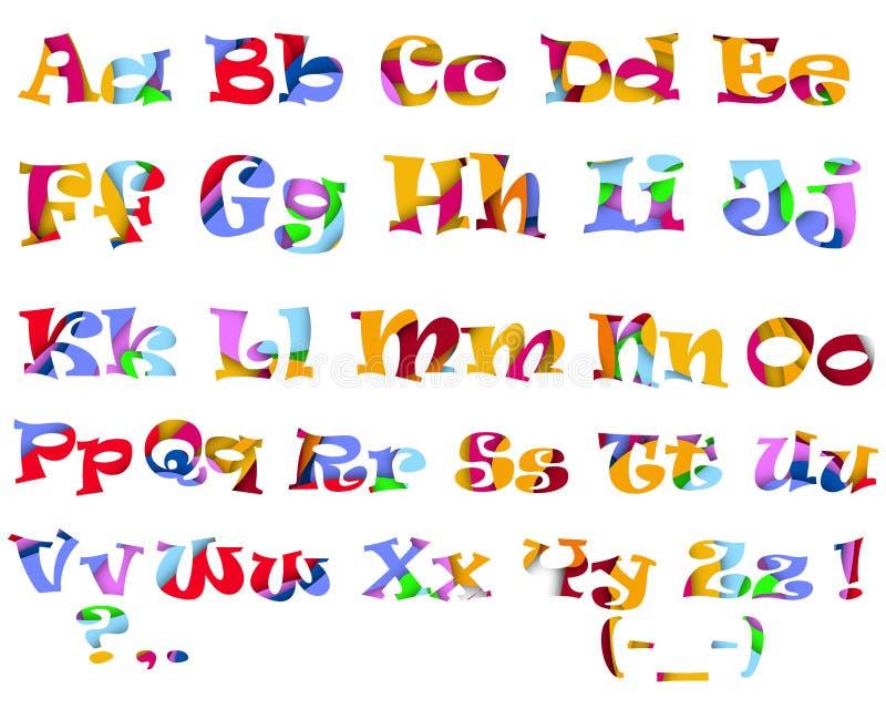 Multi alfabeto colorido brilhante ilustração do vetor