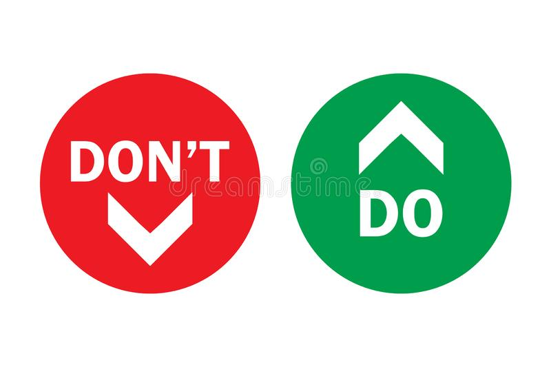 Do and don`t up and down, pros and cons left green right arrows in circles with transparent background stock illustration