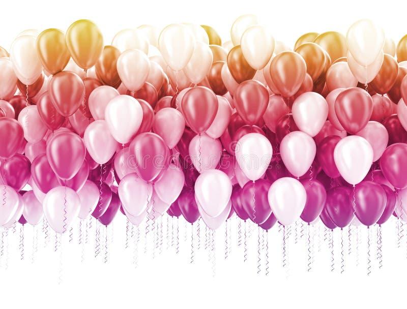 Multi bal?es do partido da cor pastel da cor isolados no branco ilustração royalty free