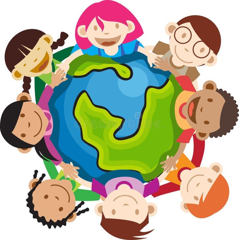 Multi bambini etnici che tengono globo illustrazione di stock