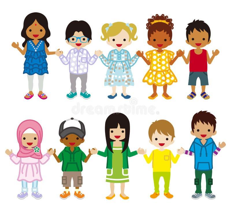 Multi bambini etnici messi royalty illustrazione gratis