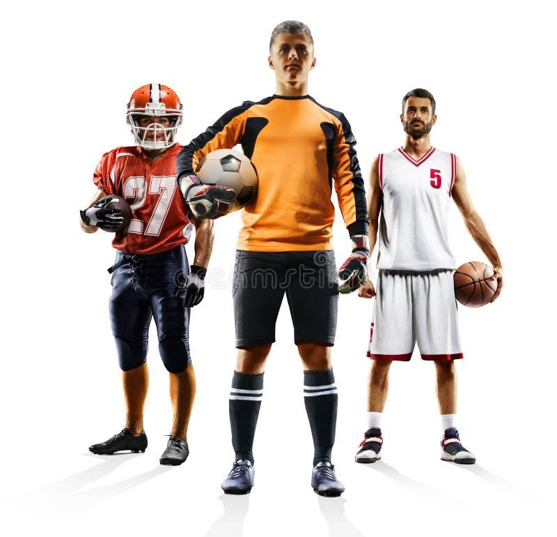 Multi bascketball di football americano di calcio del collage di sport fotografia stock