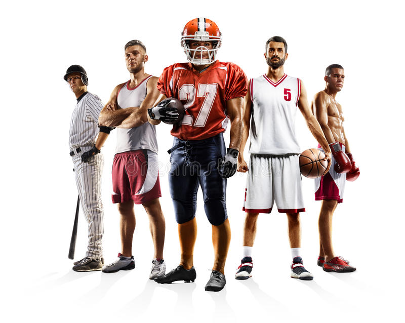 Multi bascketball di pallavolo di football americano di baseball di pugilato del collage di sport immagine stock libera da diritti