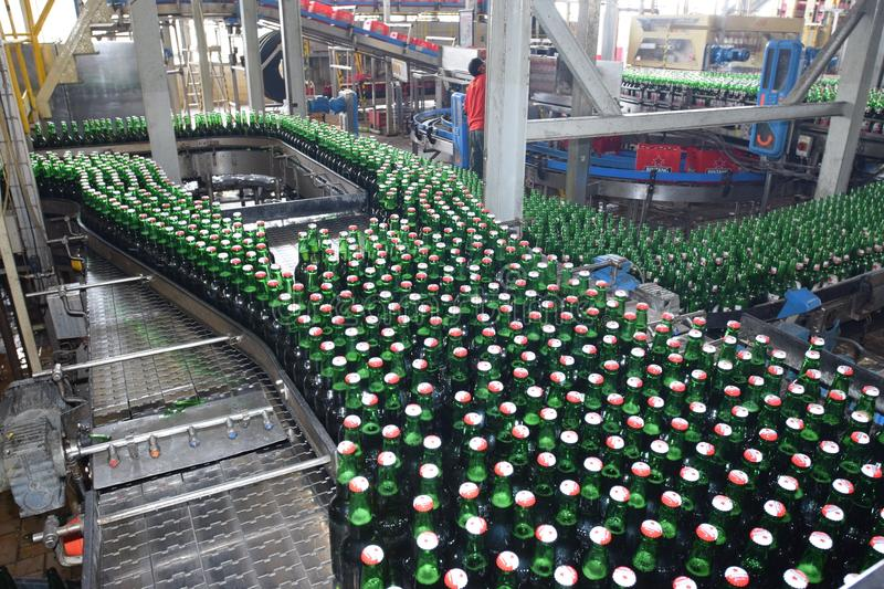 Multi Bintang Indonesia. MojProduction room atmosphere in PT Multi Bintang Indonesia Tbk breweries and bottling facilities in Trawas, Mojokerto, East Java stock photography