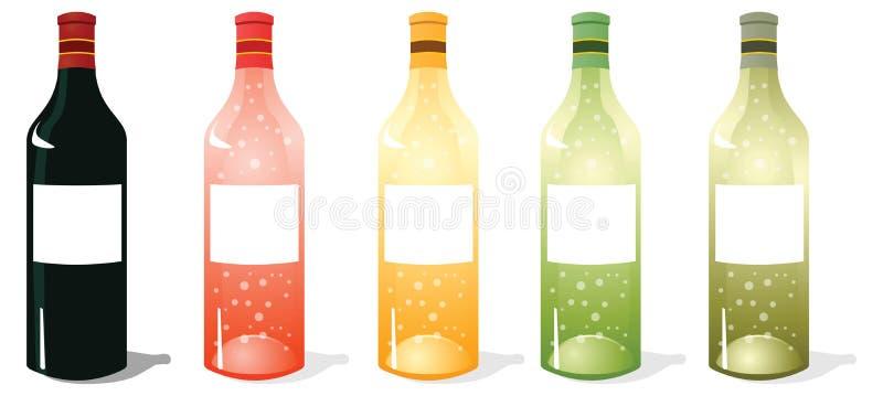 Multi bloco das garrafas de vinho da cor imagens de stock