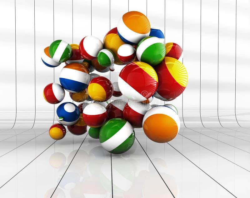 Multi bolas decorativas coloridas com assoalho da reflexão, ilustração 3d ilustração stock
