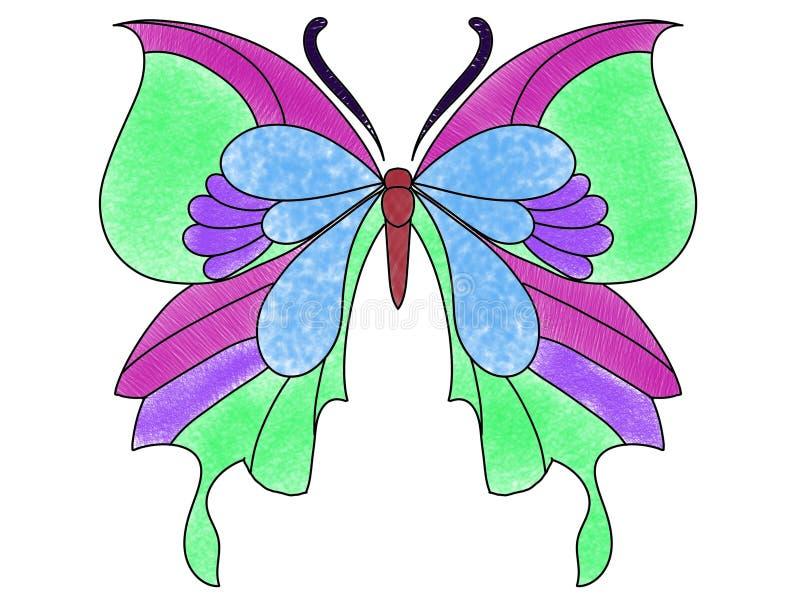 Multi borboleta da cor em um fundo branco ilustração royalty free