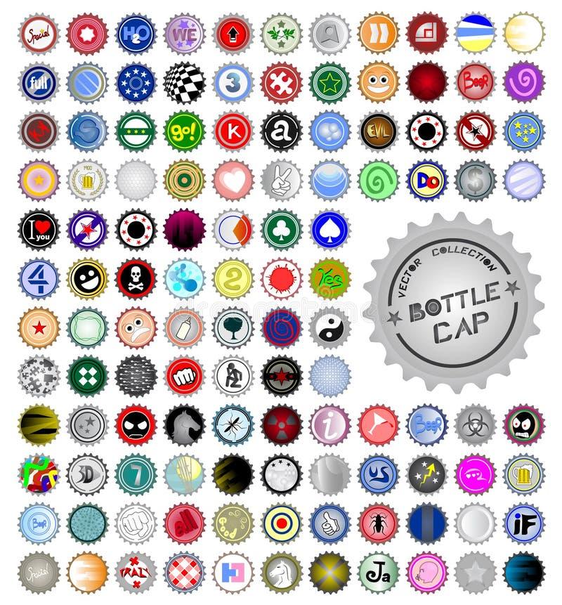 Multi bottle caps stock illustration