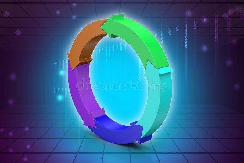 Multi cerchio colorato della freccia illustrazione di stock