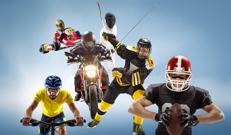 A multi colagem conceptual dos esportes com futebol americano, hóquei, cyclotourism, cercando, esporte automóvel fotos de stock