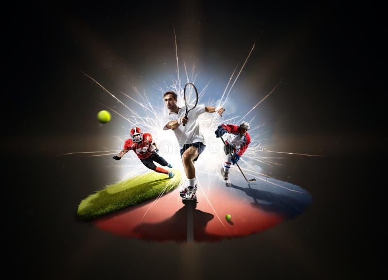 Multi colagem dos esportes de footbal americano do hóquei do tênis fotografia de stock